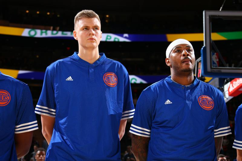 Kristaps Porzingis and Carmelo Anthony